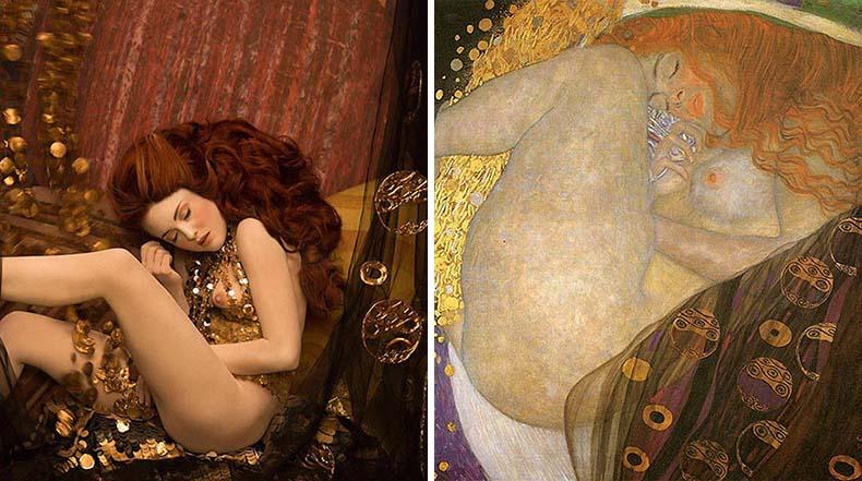 Modelos recreando las doradas pinturas de Gustav Klimt