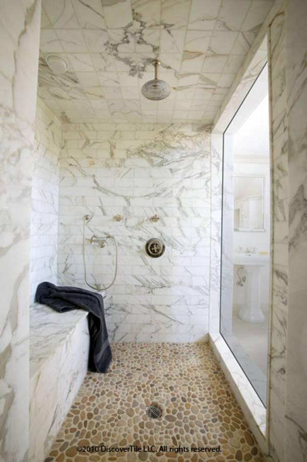 Good This Sumptuous Shower Is Covered In Marble Subway Tiles, Which Alters The  Veining And Gives It A Fresh Modern Look. I Love The Tiled Ceiling And  Bench In ...