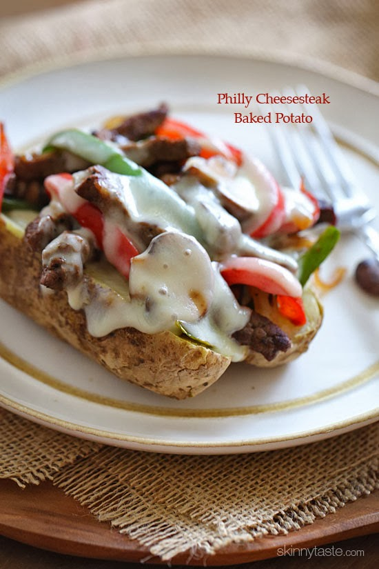 Quick skillet steak with onions, peppers and mushrooms are loaded on top of a baked potato and topped with melted cheese – this is awesome and perfect for the meat and potato lover in your life!