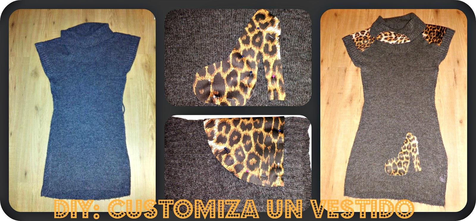 customiza un vestido de punto con retales de animal print en los hombros cuello y uno en forma de zapato de plataforma ,cosido a maquina
