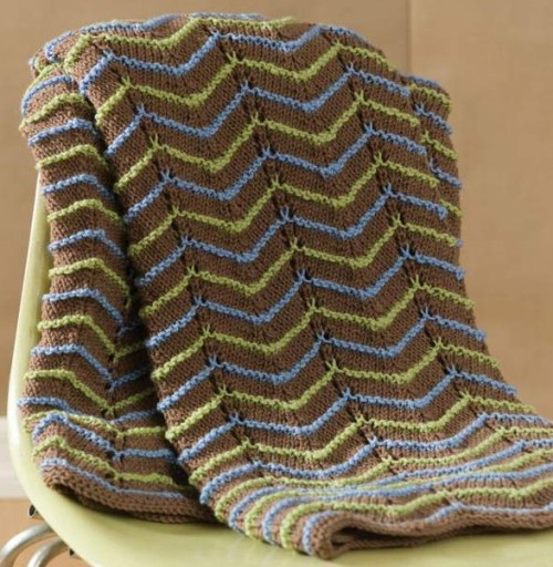 Earth Tone Knit Afghan - Free Pattern