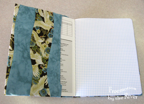 Inside of quilted journal cover