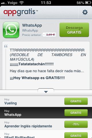 Captura de pantalla de la oferta gratuita de WhatsApp en la aplicación para iOS AppGratis