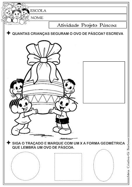 Atividade Páscoa Comercial  Educação Infantil - Figuras Geométricas