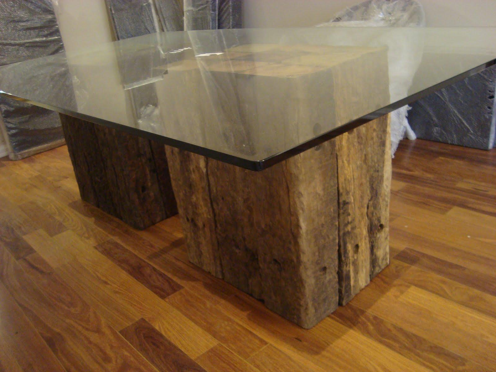 Base mesa em madeira de Dormentes #9D712E 1600x1200