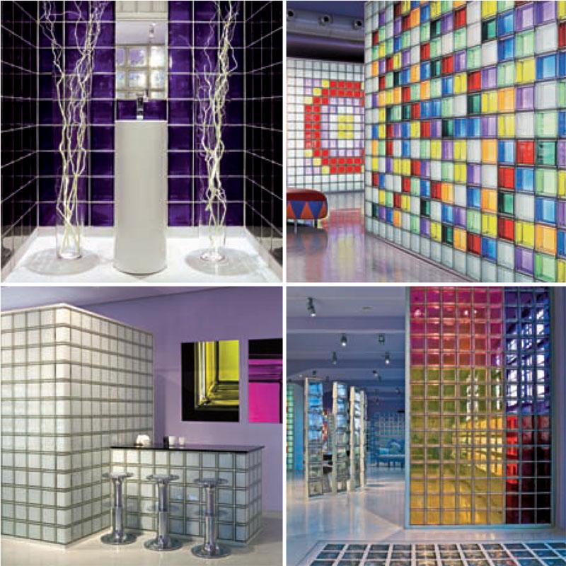 Wall Design Glass Block : Modern interior design mendini murano colored glass