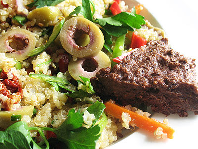 Quinoa Olive Salad with Sun-dried Tomatoes Served with Black Olive Shortbread