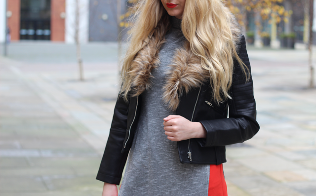 how to wear leather fur jacket fashion blog