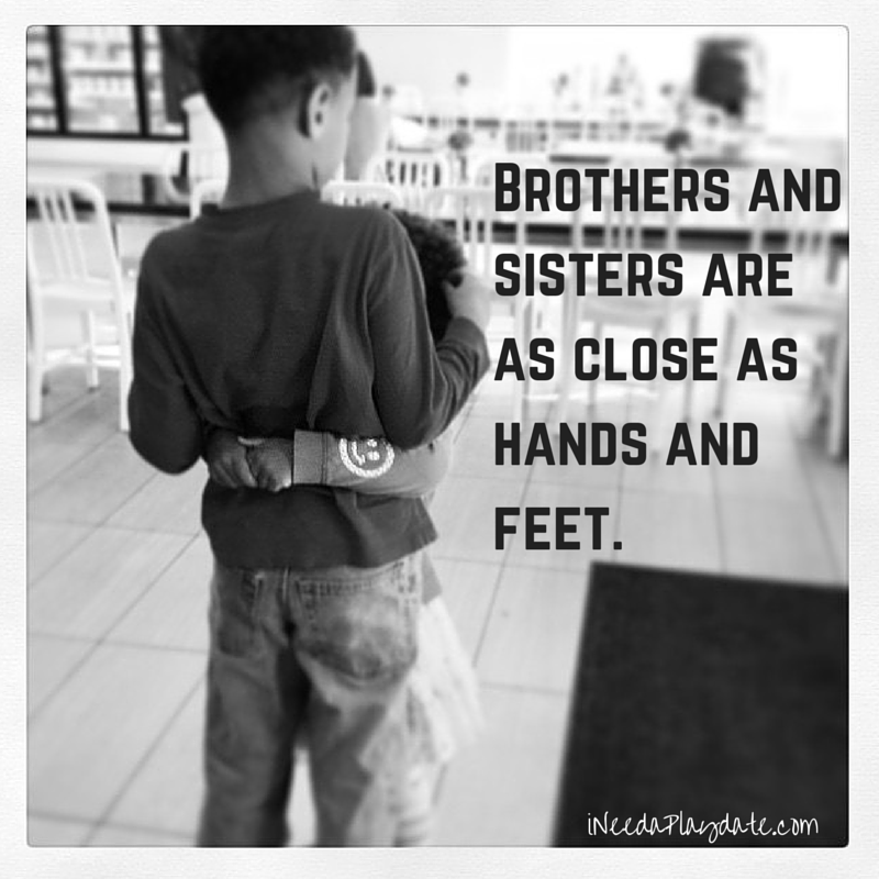 Brothers and sisters are as close as hands and feet. -Vietnamese Proverb