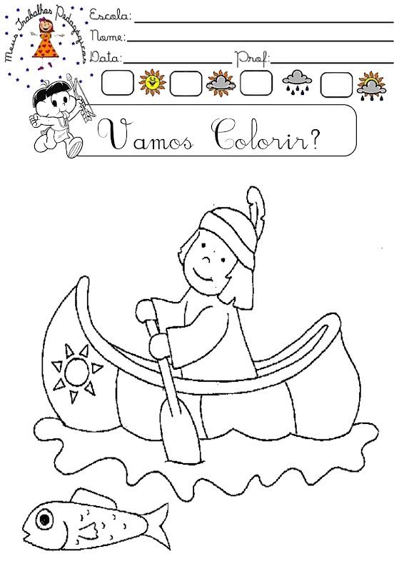 Meus Trabalhos Pedagógicos ®: Desenhos do dia do índio para colorir