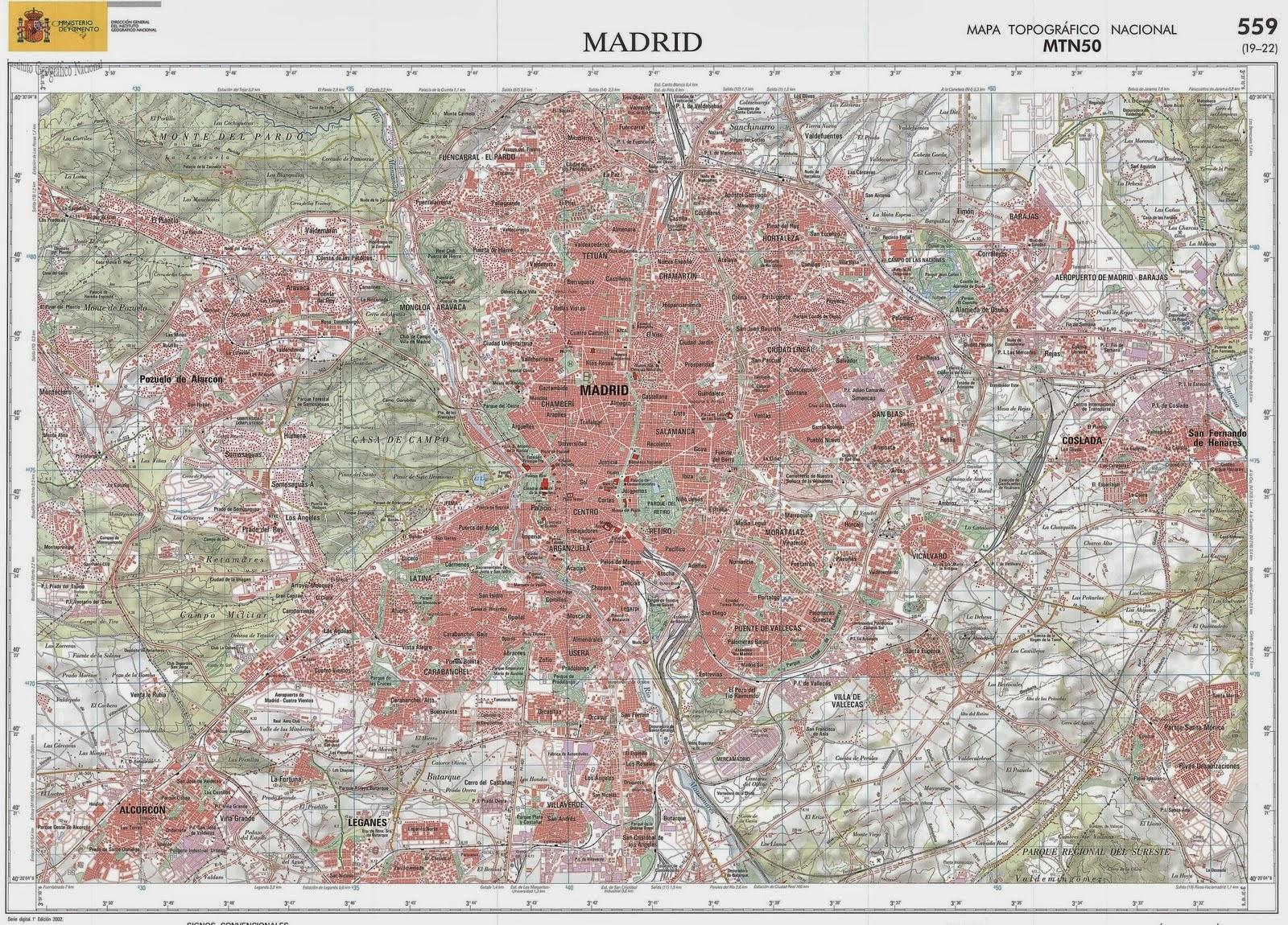Red Geogrfica 2 Mapa Topogrfico Nacional MTN Hoja 559 Madrid