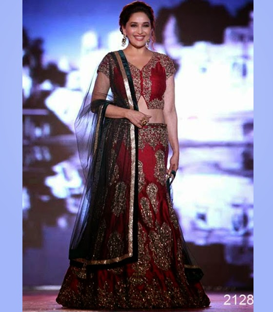 2128-Madhuri Dixit In Red Lengha Choli