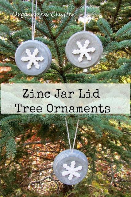 Zinc Jar Lid Ornaments www.organizedclutterqueen.blogspot.com