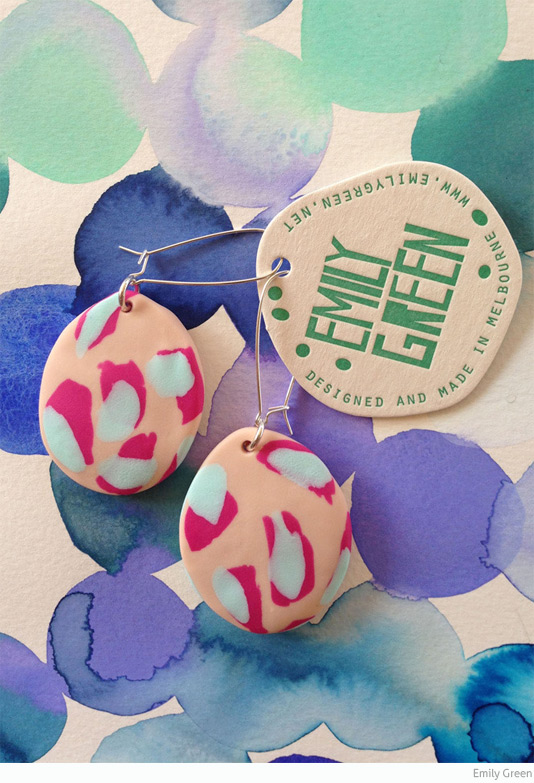 Emily Green polymer clay drop earrings