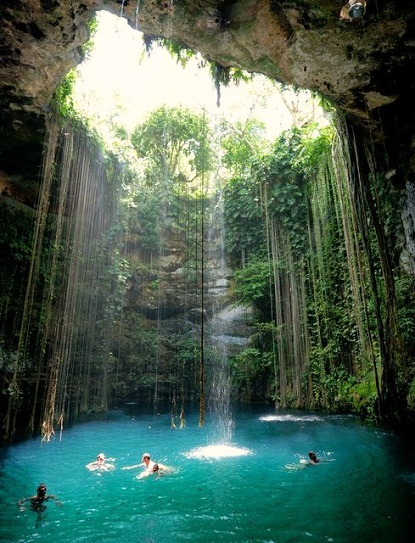 Express o hidden cave pool in mexico - Crystal pools waterfall ...