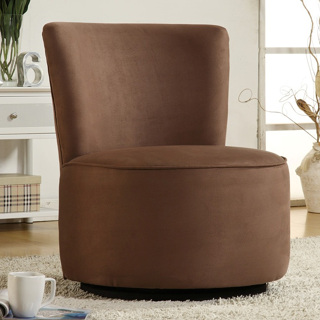 Beau Contemporary Round Microfiber Swivel Chair