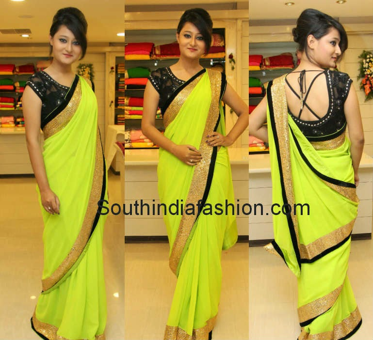 neon green saree