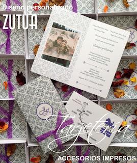 Caja con diseño personalizado en la tapa diseño personalizado con el nombre del invitado y la invitacion lleva fotografia artistica de los novios.