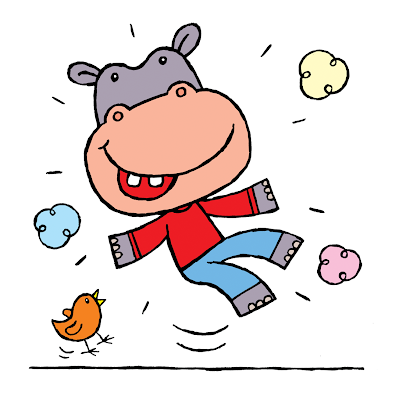 picture of a happy hippo jumping up and down