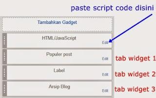 tab widget tiga kolom di sidbar