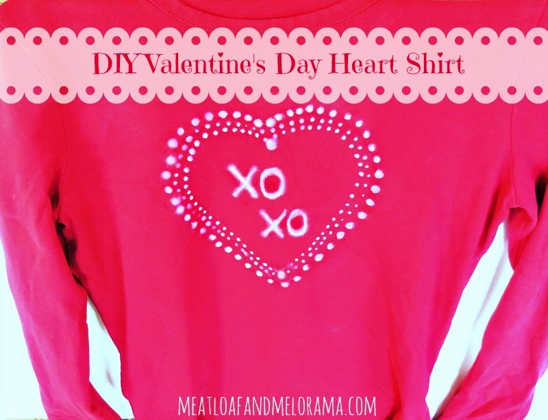red shirt decorated with bleach pen heart for valentines day
