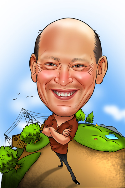 Cartoon Characters With Big Heads : Bald man caricature