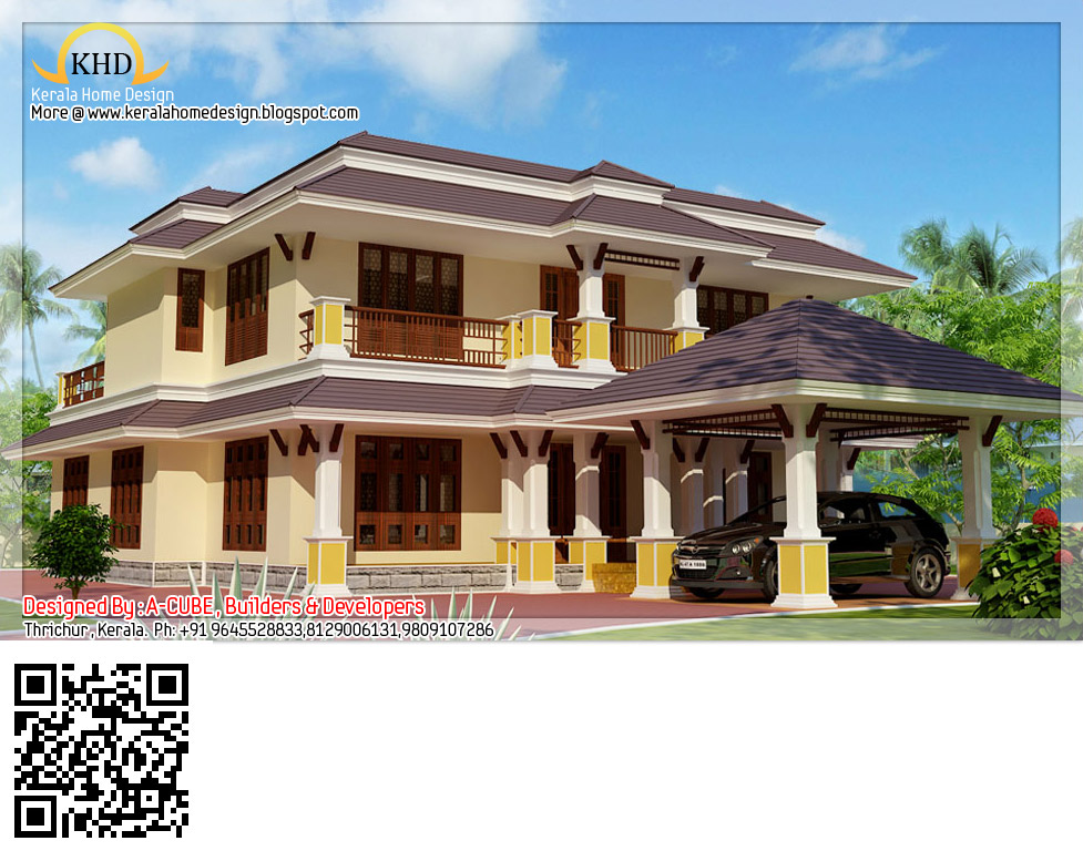 Kerala style house architecture 2600 sq ft modern for Duplex house india