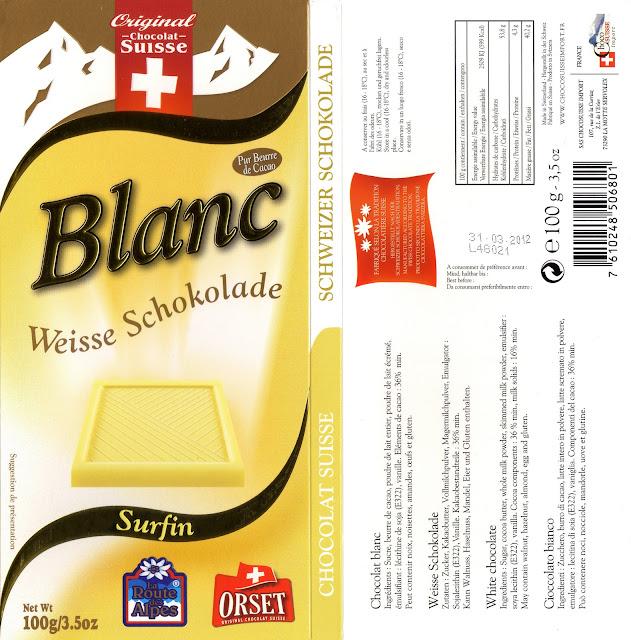 tablette de chocolat blanc dégustation orset la route des alpes blanc