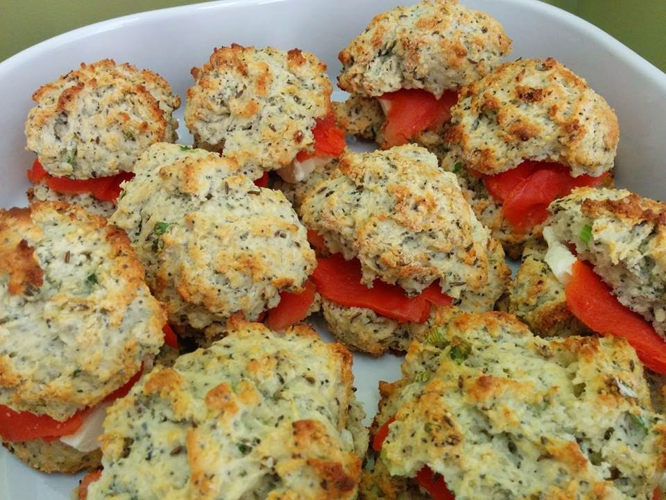 rustic seeded herb biscuits with cream cheese and smoked salmon