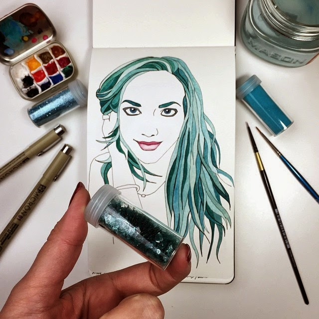 Watercolor and glitter fashion illustration portrait of Amanda Seyfried by BrownPaperBunny