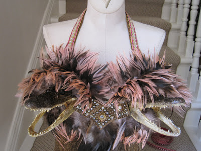 Mardi Gras Alligator Head Bustier with Pink Feathers