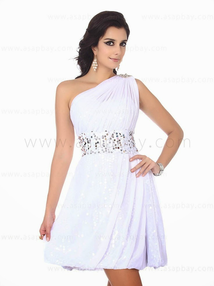 One shoulder A line white Christmas party dress sequins crystal