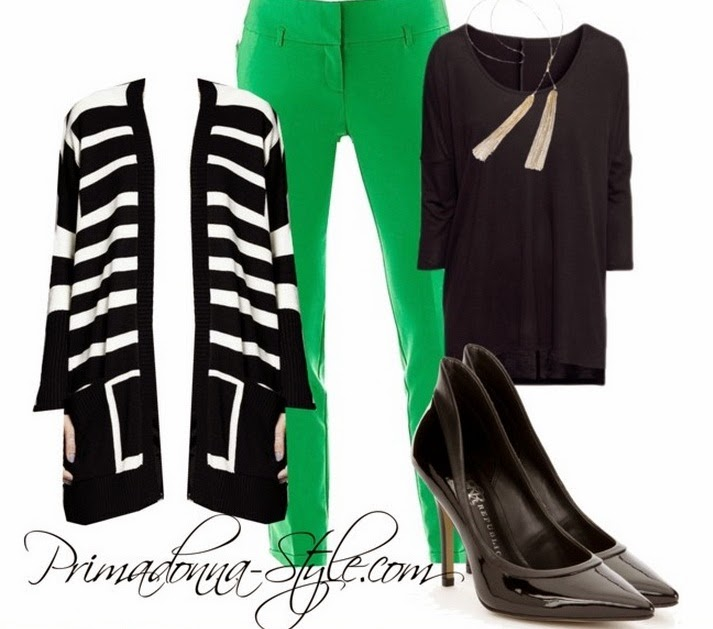 Catherine Malandrino for DesigNation Over-sized Striped Sweater H&M Oversized Black Top Worthington Wide Waistband Slim Pants in Total Green Rock & Republic Patent Heels Capsule by Cara Gold Tassel Necklace