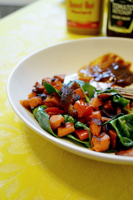 hash, sweet potato, recipe, bacon, dinner