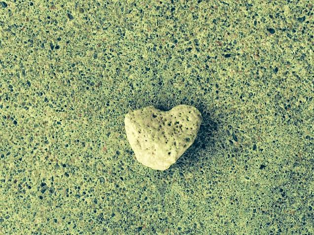 little heart of stone found on the ground
