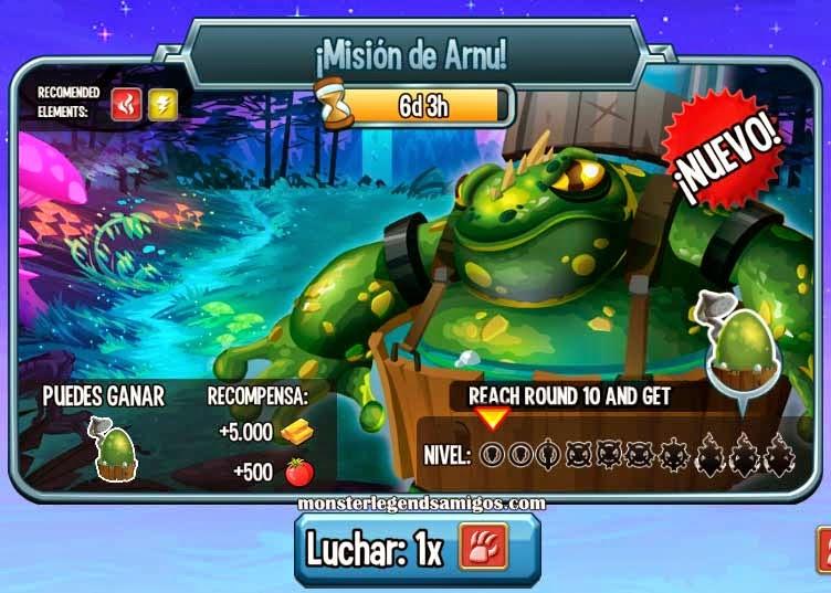 imagen de la mision de arnu de monster legends
