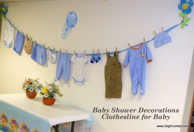Digicrumbs baby shower ideas hang a cute clothesline for Baby shower wall decoration ideas