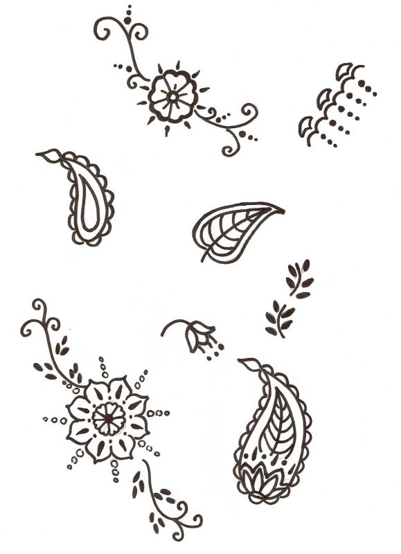 crescent moon tattoo pictures: simple henna patterns for kids