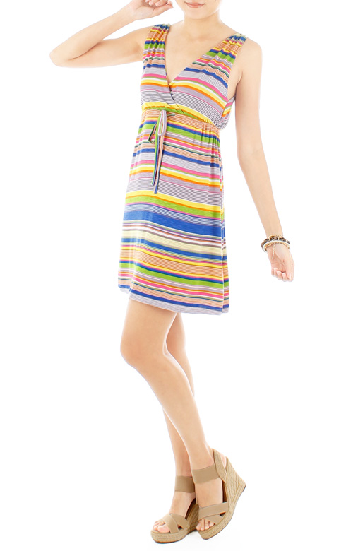 Happy Stripe Getaway Dress - Lime