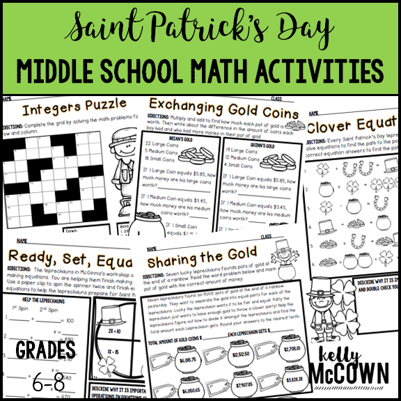 Math game worksheets for middle school