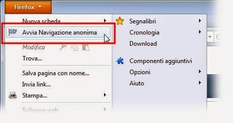 Come navigare in incognito con Firefox