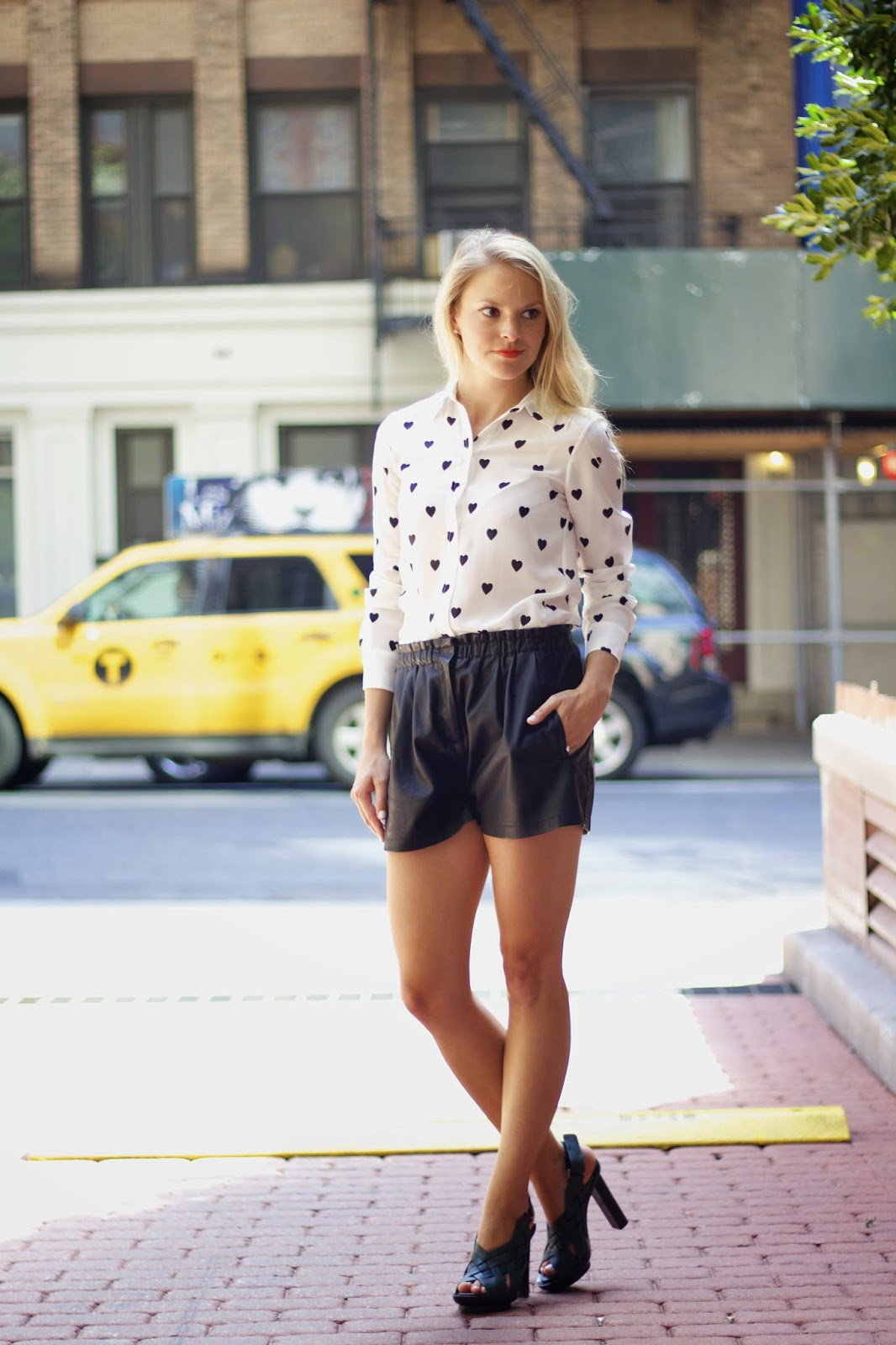heart print blouse, black and white outfits, street style, joe fresh heart blouse, faux leather shorts
