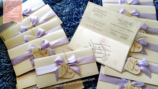Bankers Club Wedding, Lilac Ribbon Wedding Card