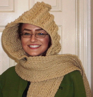 Crochet Patterns Free Hooded Scarf : Crochet Parfait: Fisherman Cable Hoodie Scarf