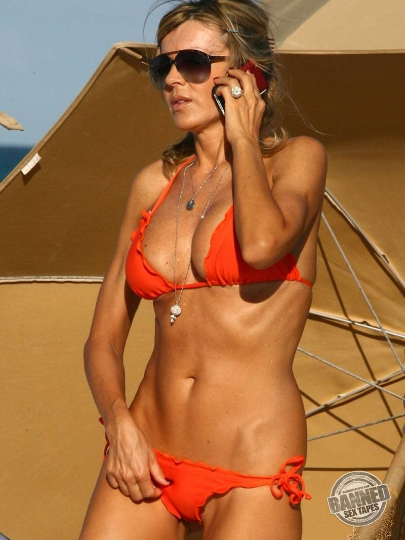 Hot Rita Rusic - Sexy mature in orange bikini at the beach