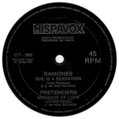 Ramones Pretenders She Is A Sensation Message Of Love