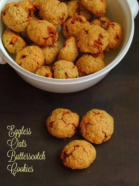 Eggless oats Butterscotch Cookies