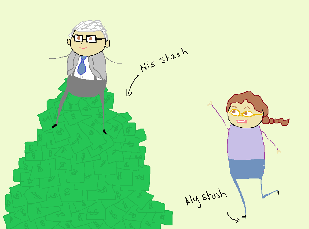 "Cartoon of Warren Buffett, sitting on a giant pile of money (labelled ""His stash""), with a me beside him, trying to get his attention standing on a tiny dot (labelled ""My stash"")."
