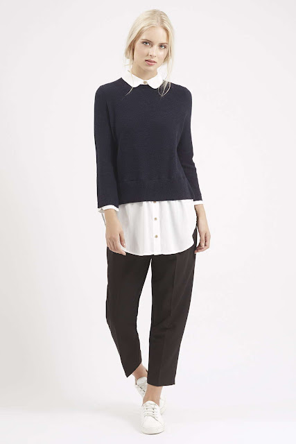 blue jumper with white shirt