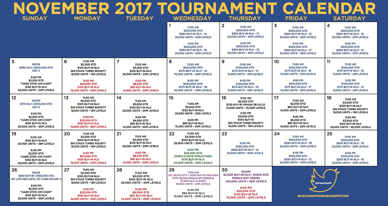November Tournament Calendar